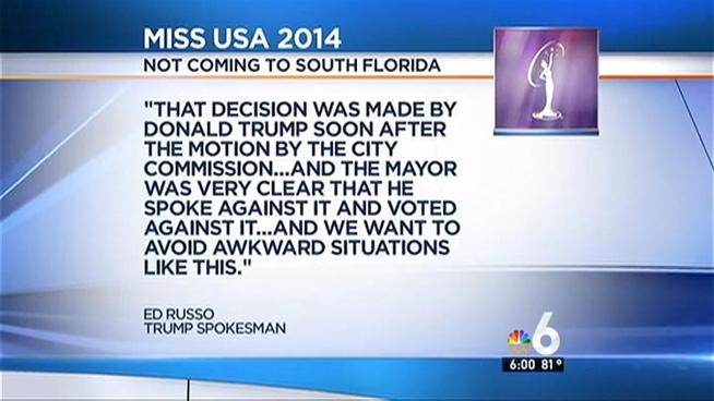 Trump nixes Doral as host of Miss USA after mayor votes against the pageant
